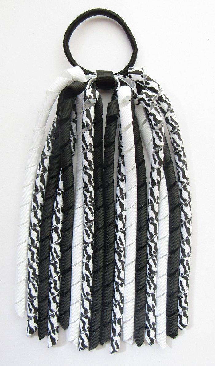 Black White Zebra Korker Ponytail Streamer