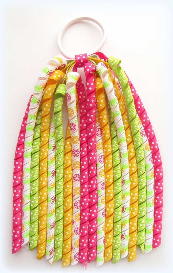 Bright Citrus Fruits Korker Ponytail Streamer