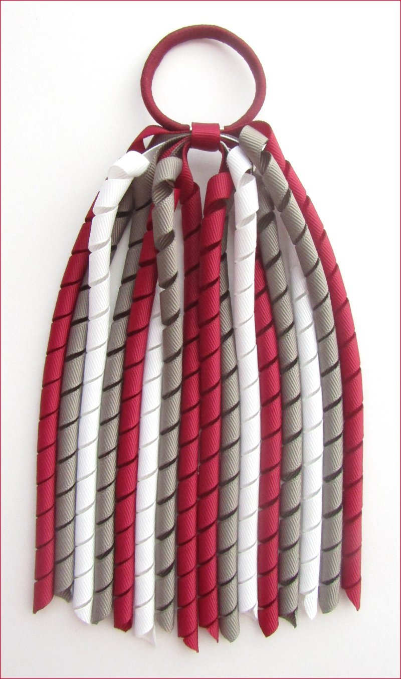 Burgundy Grey White Korker Ponytail Streamer