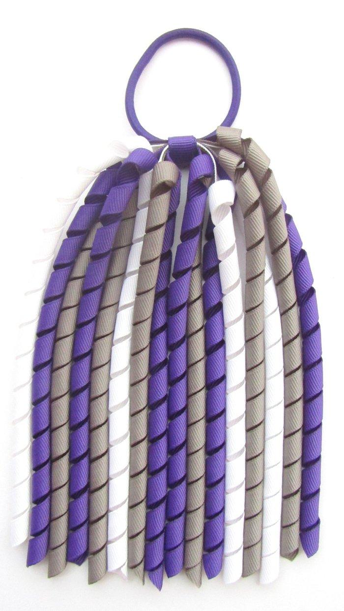 Dark Purple Dark Grey White Korker Ponytail Streamer