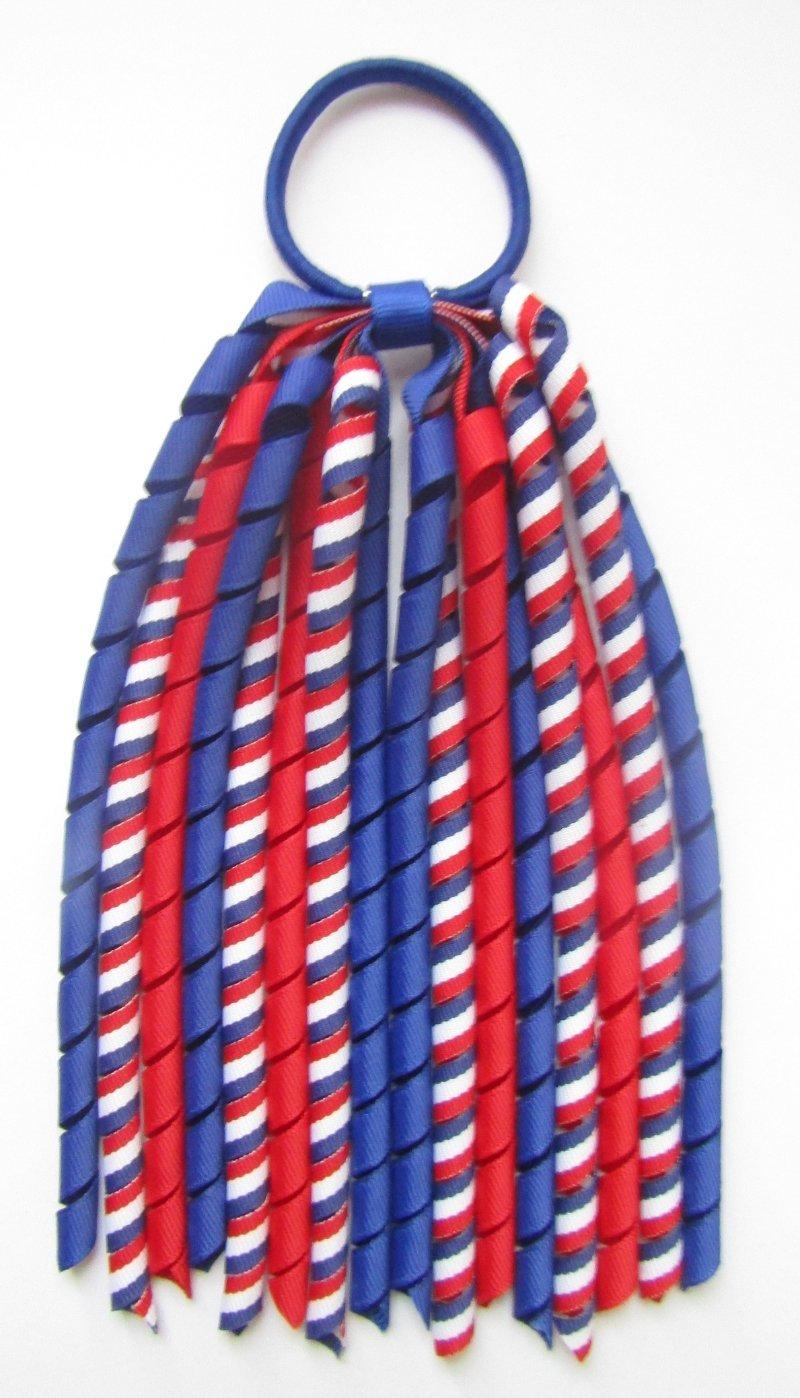 Dark Royal Blue Red White Tri Stripe Korker Ponytail Streamer