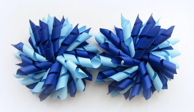 Dark Royal Blue Bright Blue Korker Hair Bows