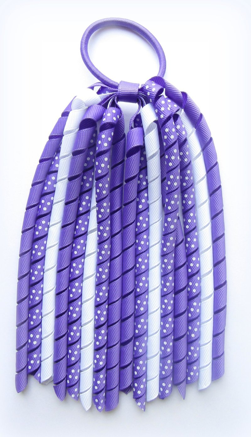 Delphinium Purple Polka Dot Korker Ponytail Streamer