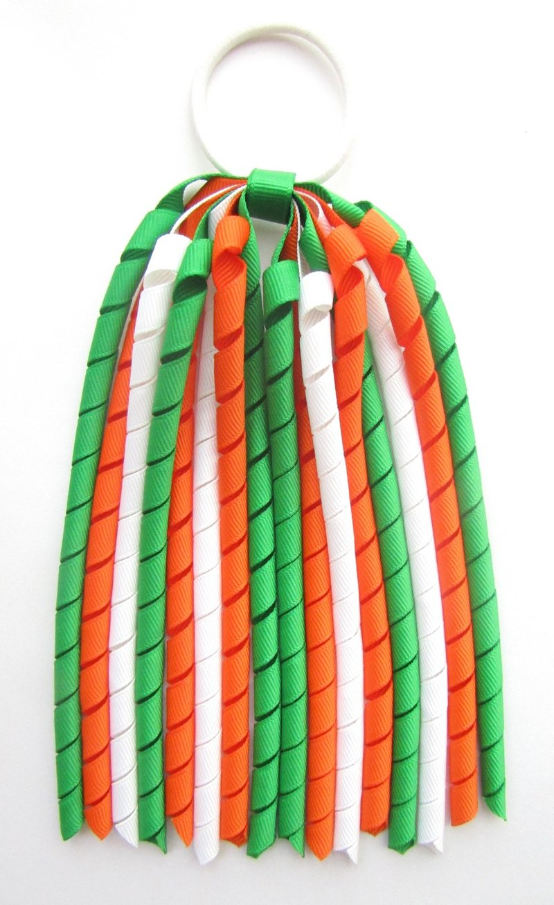 Emerald Green Orange & White Korker Ponytail Streamer