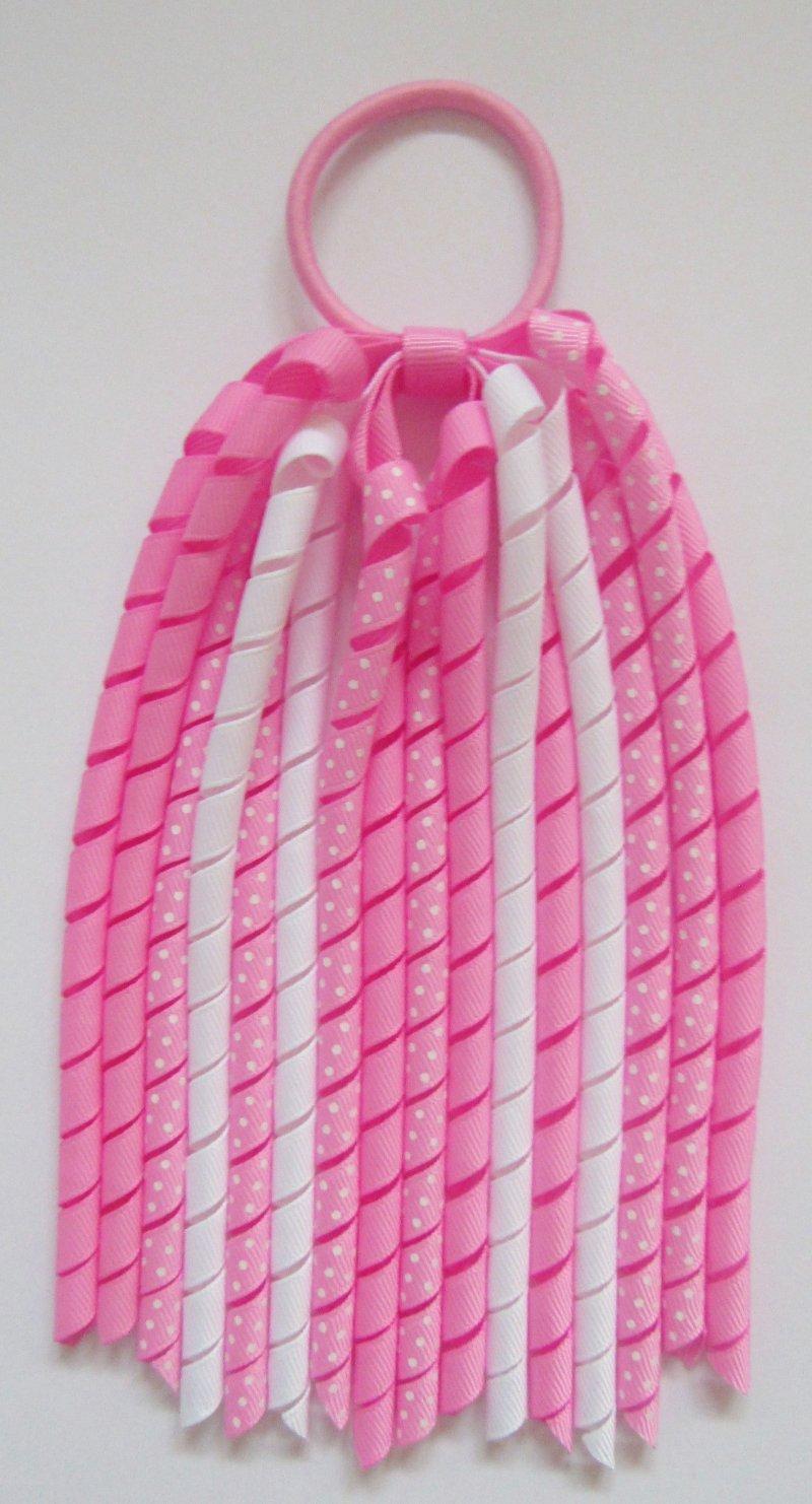 Geranium Candy Pink Dot Korker Ponytail Streamer