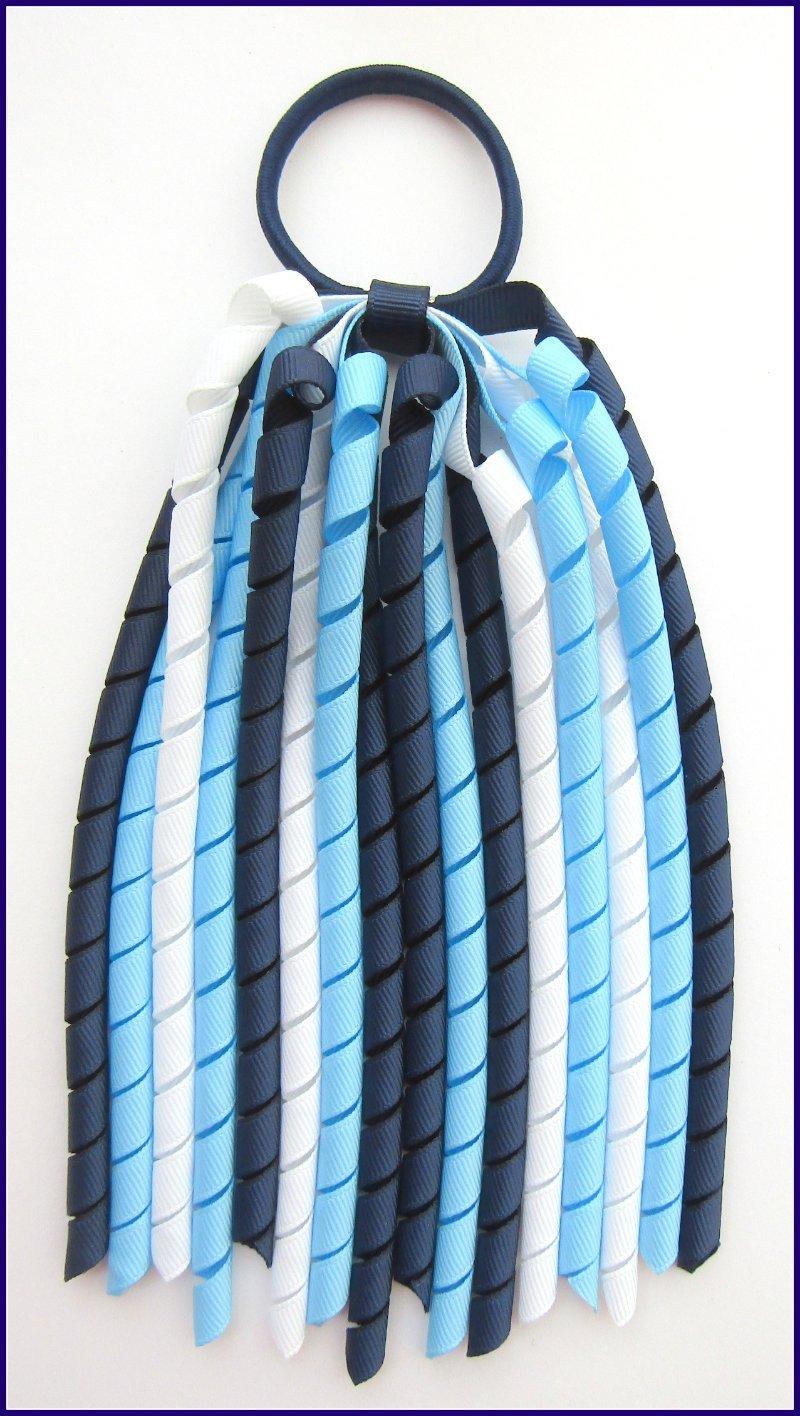 Navy Bright Blue White Korker Ponytail Streamer