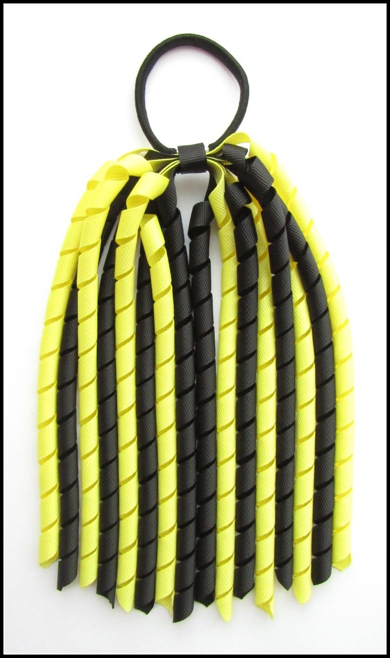 Black Lemon Yellow Korker Ponytail Streamer