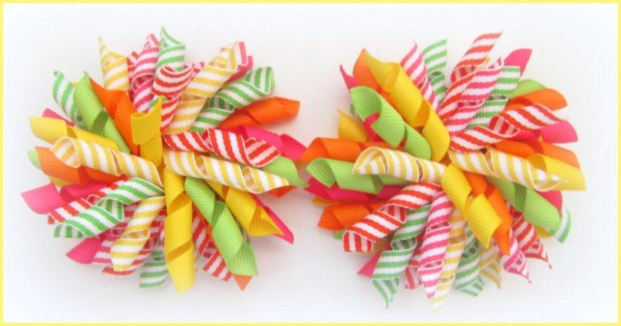 Bright Citrus Summer Stripe Korker Hair Bows