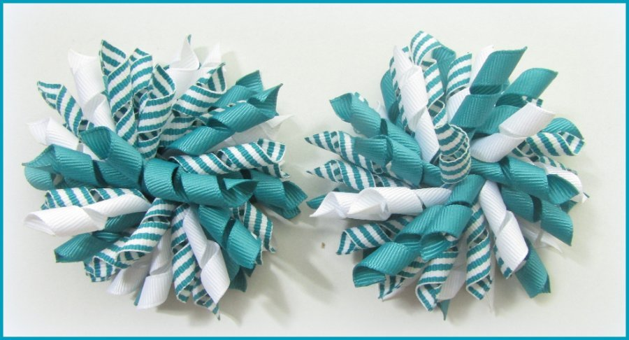 Jade Stripe Korker Hair Bows
