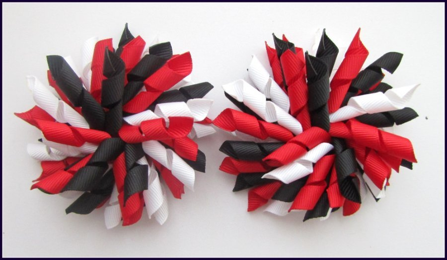 Red Black & White Korker Hair Bows