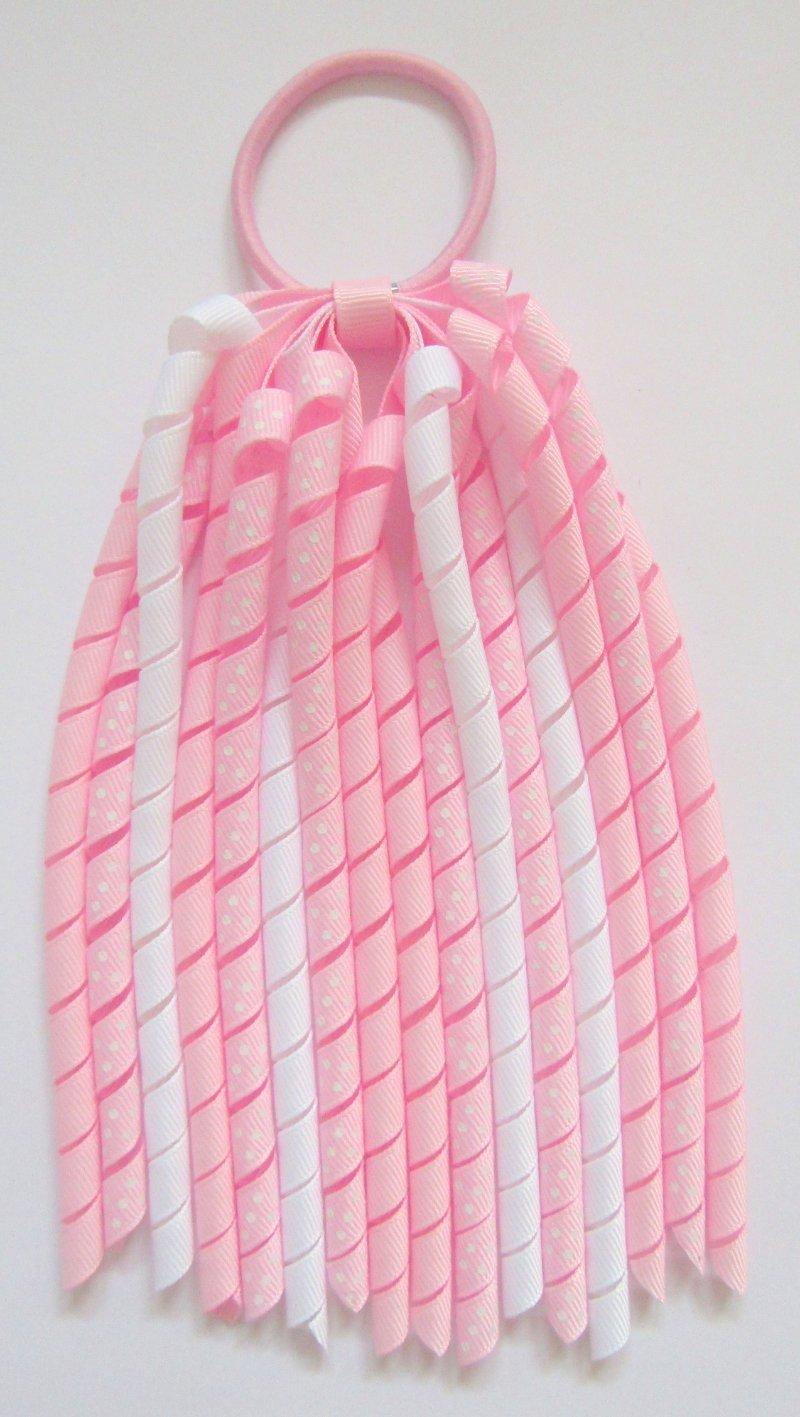 Pearl Pink Dot Korker Ponytail Streamer