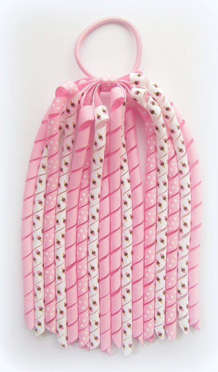 Pink Ice Cream Cone Korker Ponytail Streamer