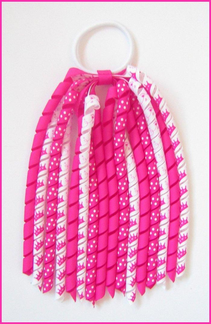 Bright Pink Tiara Crown Princess Korker Ponytail Streamer