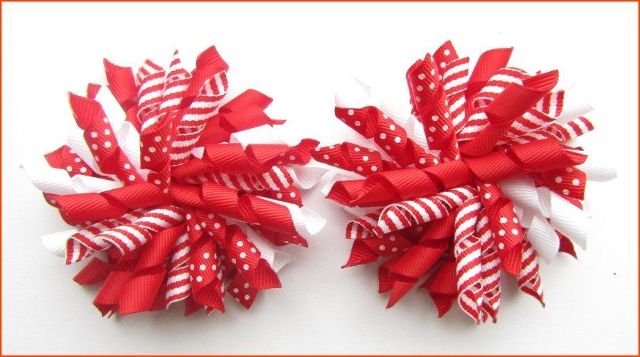 Red Dot Stripe Mix Korker Hair Bows
