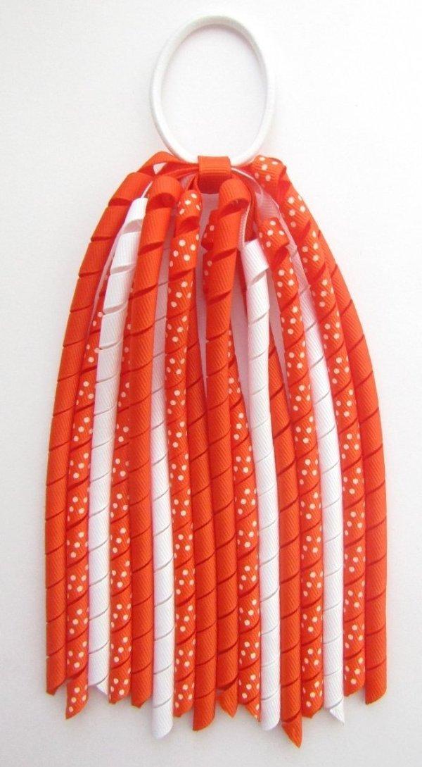 Autumn Orange Dot Korker Ponytail Streamer