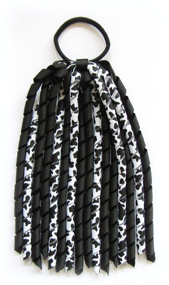 Black Cow Print Korker Ponytail Streamer