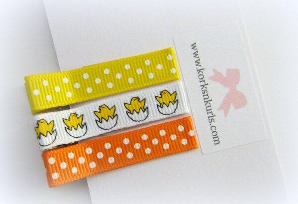 Easter Chick Egg Daffodil Tangerine Orange Dot Grosgrain Ribbon Alligator Clips Gift Set