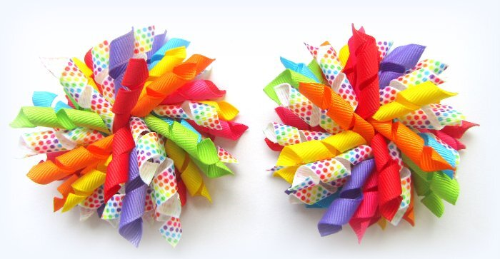 Bright Rainbow Multi Dot Birthday Party Korker Hair Bows