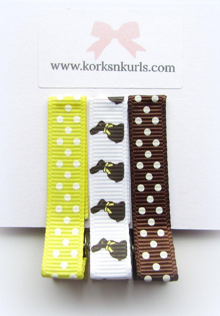 Easter Bunny Rabbit Grosgrain Ribbon Patterns Alligator Clips Gift Set