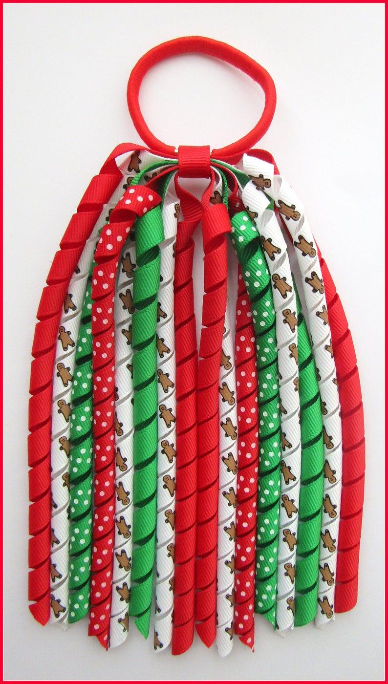 Christmas Gingerbread Korker Ponytail Streamer