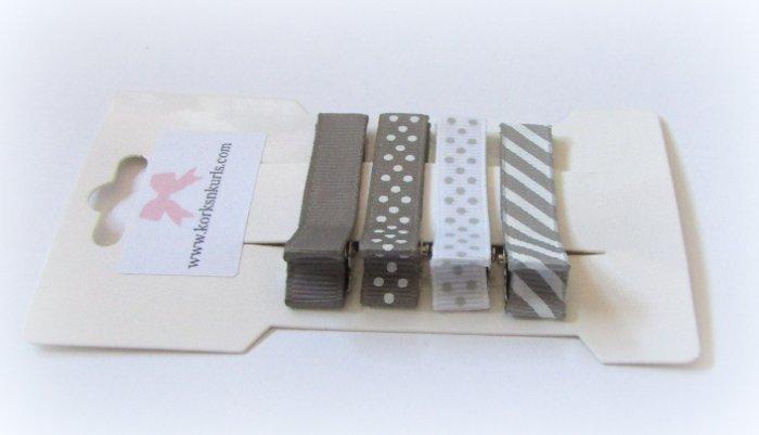 4 Dark Grey Grosgrain Ribbon Patterns Alligator Clips Gift Set