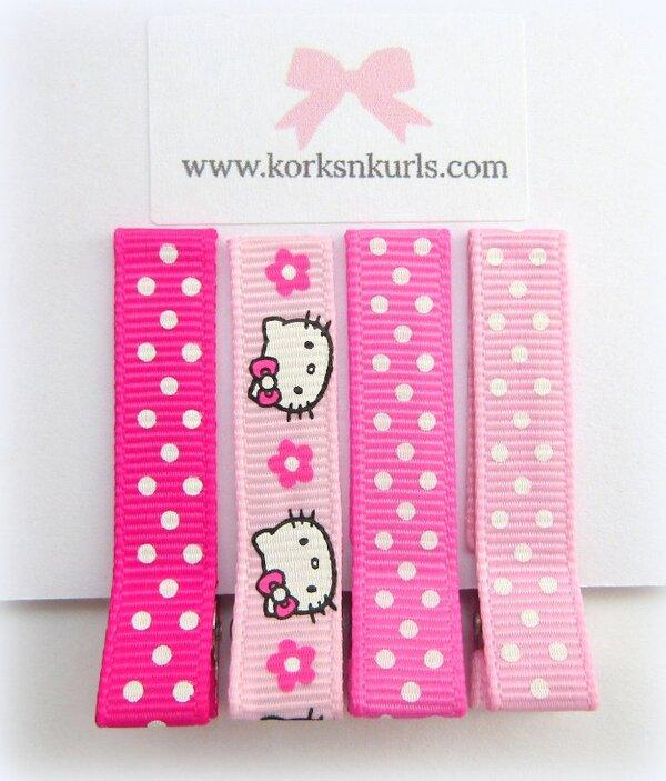 Pink Hello Kitty Polka Dot Alligator Hair Clips Gift Set