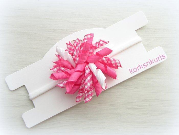 Hot Pink Gingham Baby Korker Nylon Headband