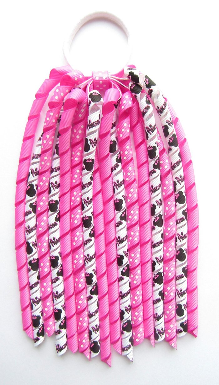 Hot Pink Dot Minnie Mouse Korker Ponytail Streamer