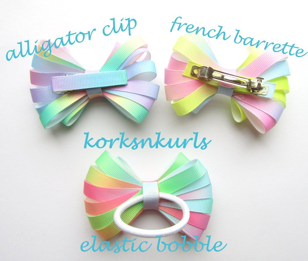 Pale Pastel Ombre Ribbon Double Layered Loopy Hair Bow
