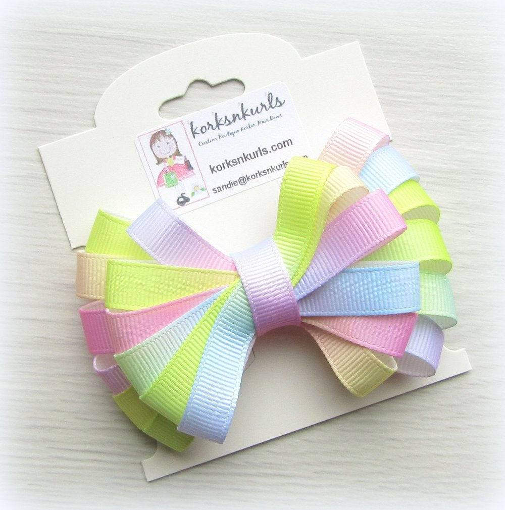 Pastel Ombre Ribbon Double Layered Loopy Hair Bow