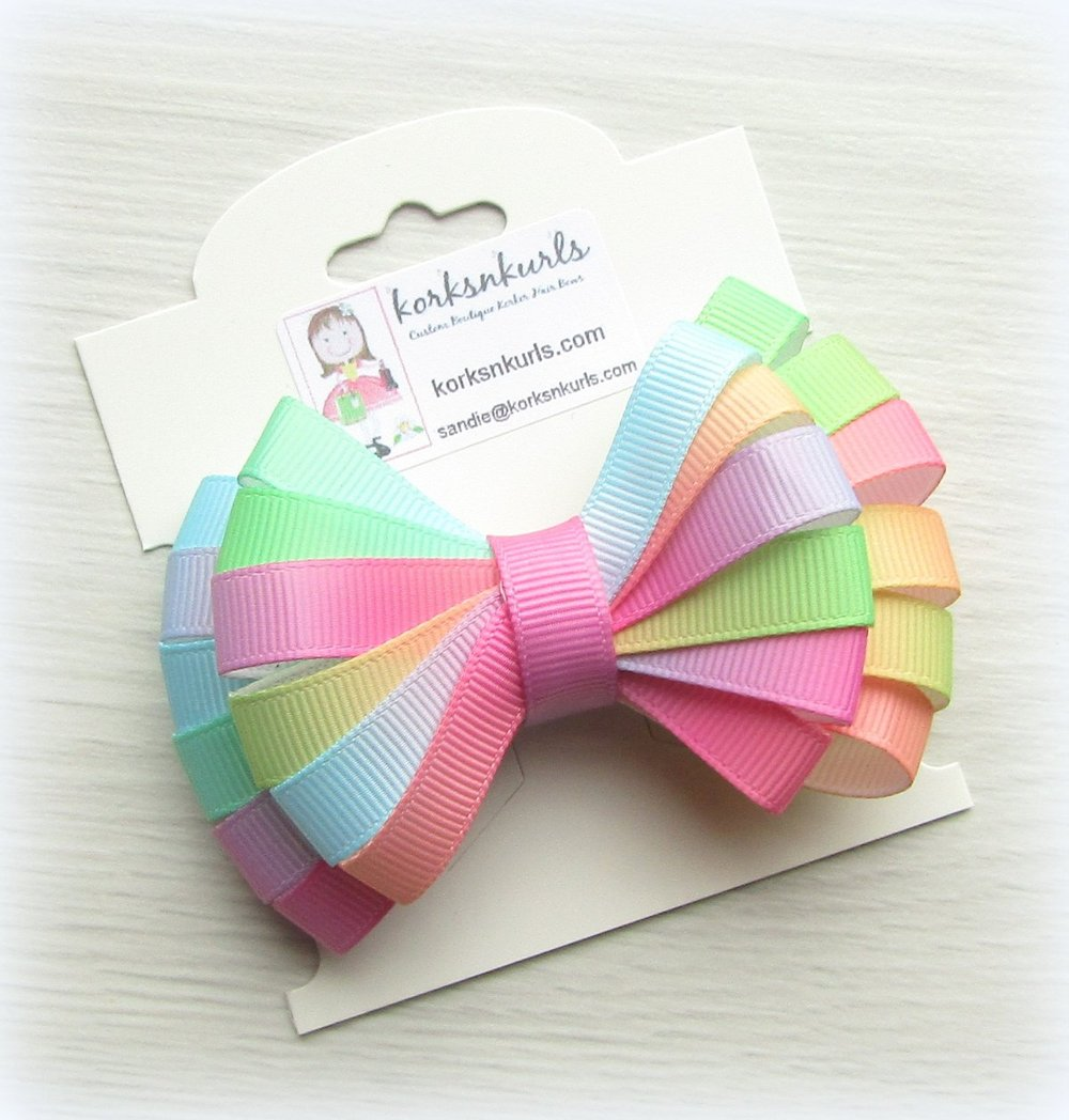 Bright Ombre Ribbon Double Layered Loopy Hair Bow