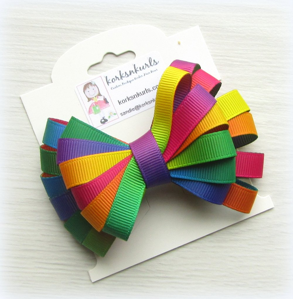 Groovy Tie Dye Ombre Ribbon Double Layered Loopy Hair Bow