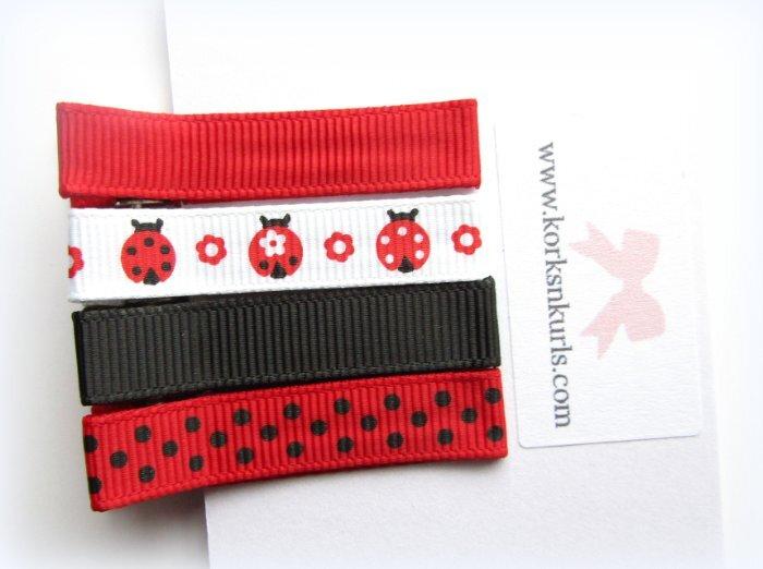 Ladybird Ladybug Grosgrain Ribbon Patterns Alligator Clips Gift Set