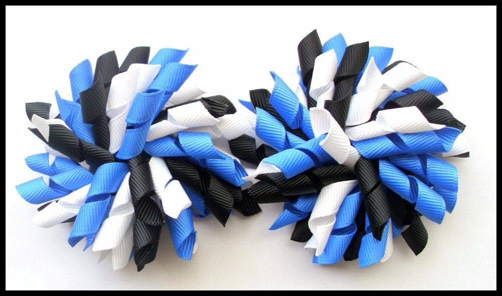 Light Royal Blue Black and White Korker Hair Bows