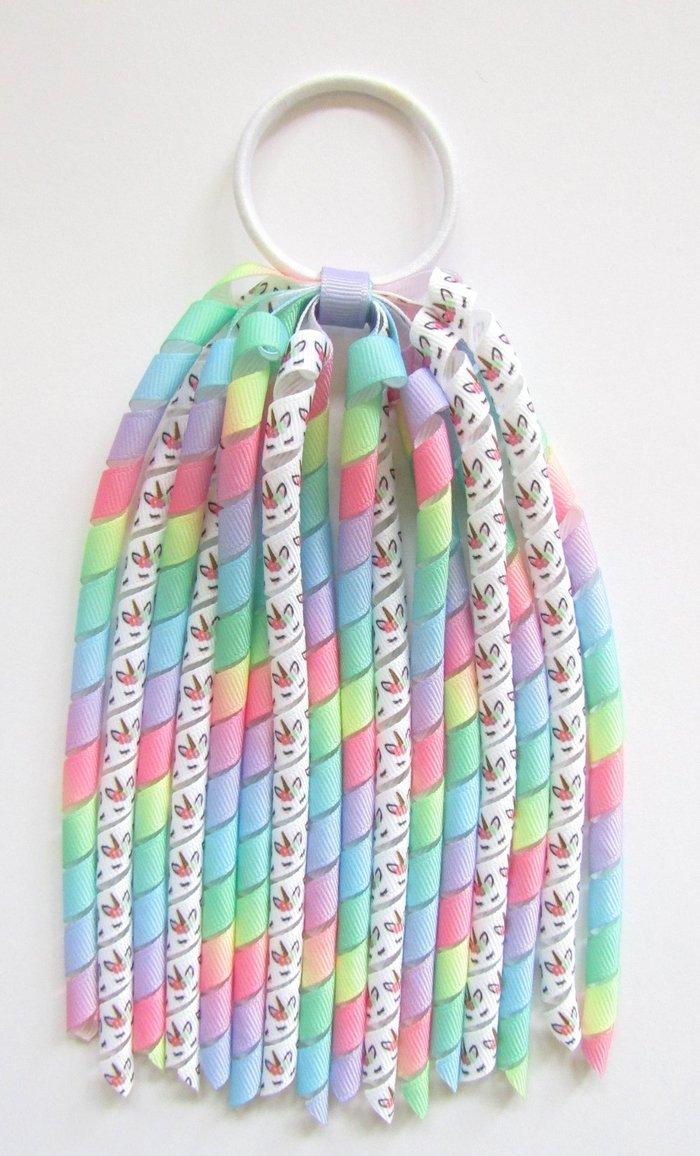 Bright Pastel Rainbow Unicorn Korker Ponytail Streamer
