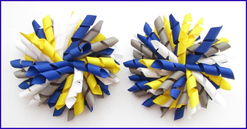 Dark Royal Blue Yellow Dark Grey & White Korker Hair Bows