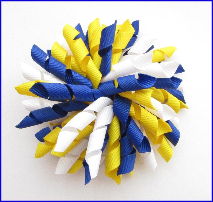 Dark Royal Blue Yellow & White Korker Hair Bows