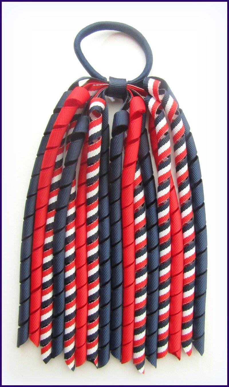 Navy Blue Red White Tri Stripe Korker Ponytail Streamer