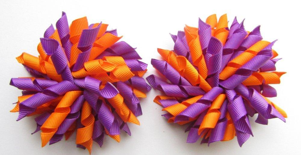 Purple & Orange Korker Hair Bows