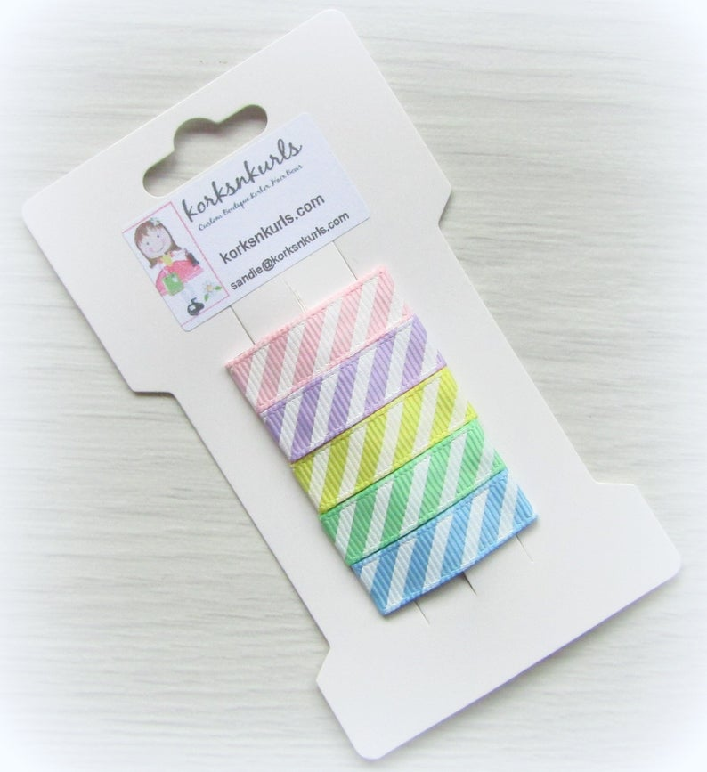 5 Pastel Candy Stripe Grosgrain Ribbon Covered 3cm Snap Hair Fringe Clips