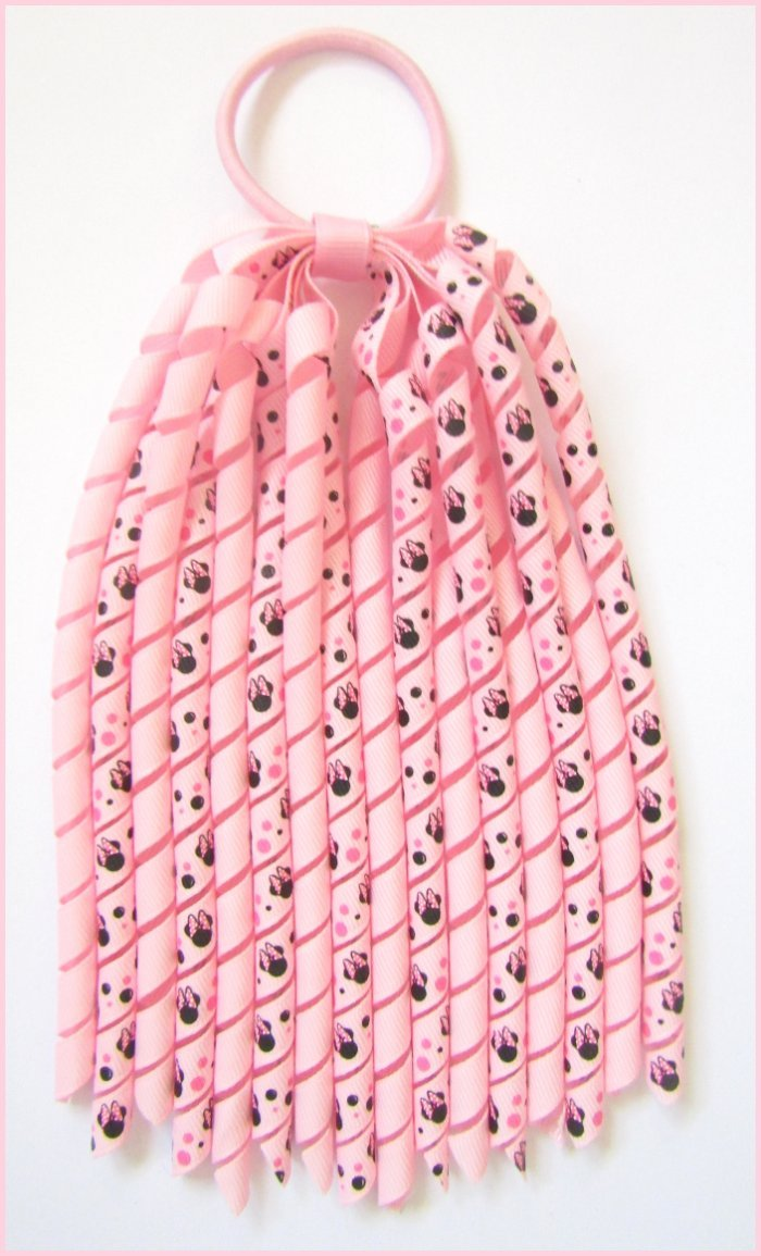 Pearl Pink Minnie Mouse Korker Ponytail Streamer