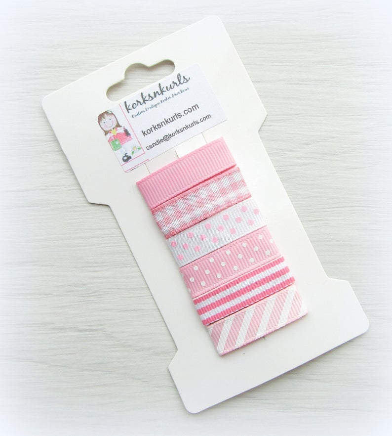 6 Pink Grosgrain Ribbon Covered 3cm Snap Hair Fringe Clips