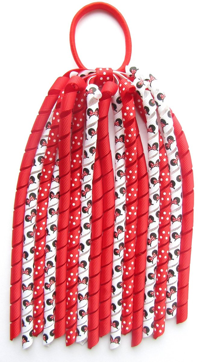 Red Dot Minnie Mouse Hair Bows Korker Ponytail Streamer