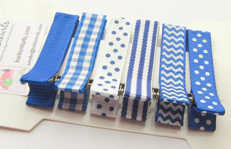6 Royal Blue Grosgrain Ribbon Patterns Alligator Clips Gift Set