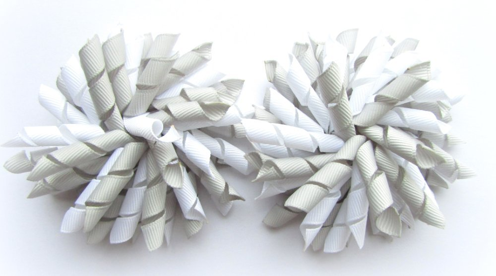 Shell Grey & White Korker Hair Bows