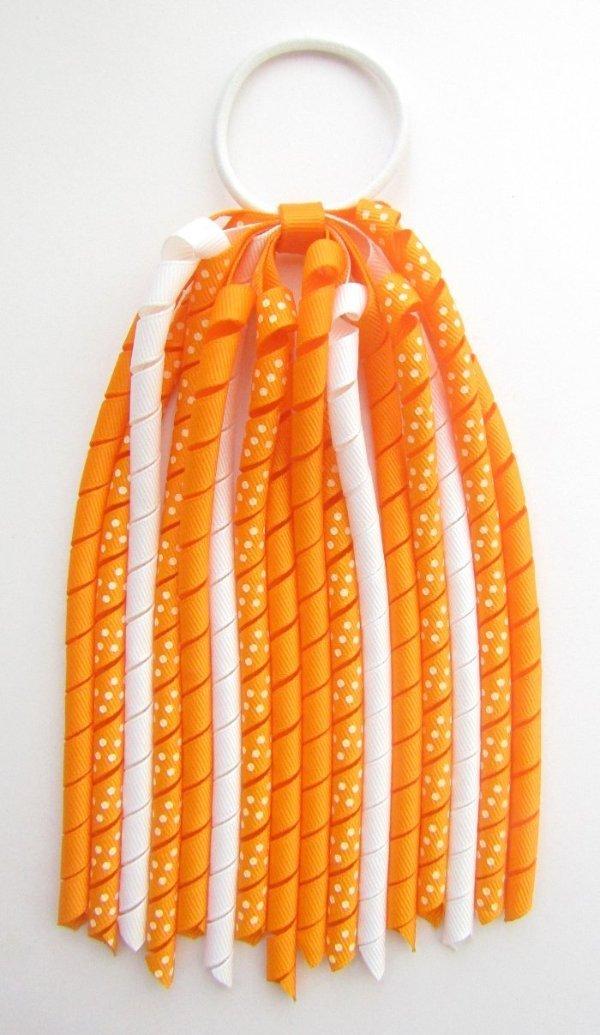 Tangerine Dot Korker Ponytail Streamer