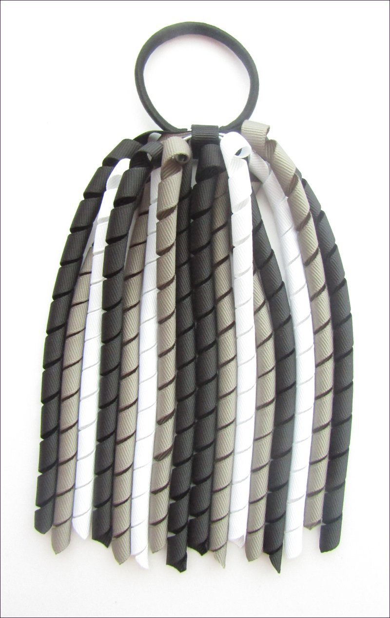Black Dark Grey White Korker Ponytail Streamer