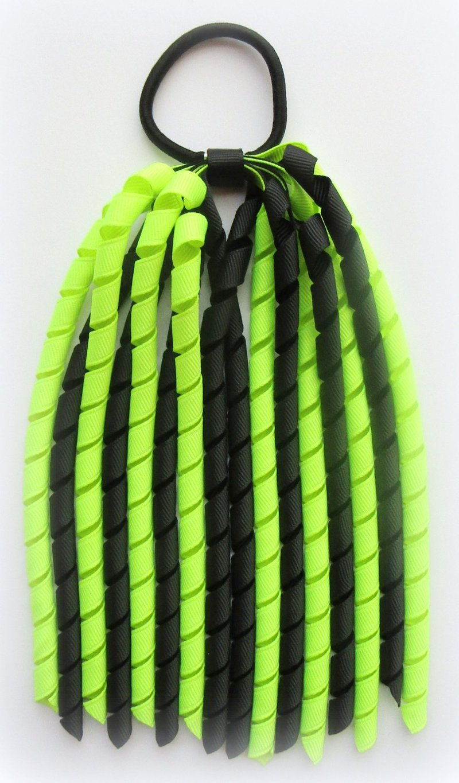 Black Neon Yellow Korker Ponytail Streamer