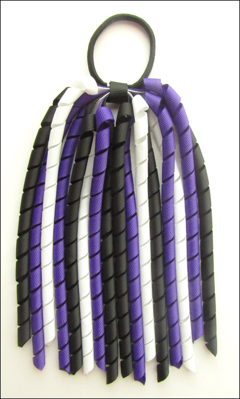 Black Dark Purple & White Halloween Korker Ponytail Streamer