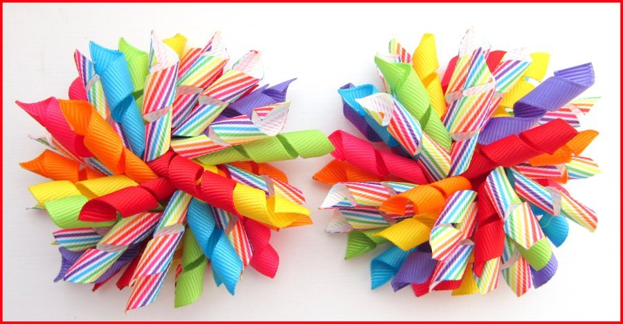 Bright Summer Rainbow Diagonal Stripe Korker Hair Bows